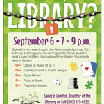 Library Escape Room Event Flyer